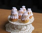 Miniature Dollhouse Food French Pastry - Religieuse - IGMA Fellow - Pink Cakes on Stand