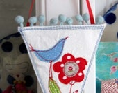 whimsical banner triangle hanging pennant by Judy Scott