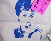 Audrey Hepburn blue screenprint tote