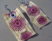 Purple flower fabric earrings