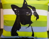 Boston Terrier Pillow, striped fabric, screen print, dog art - Special Offer - Free patch with purchase of 2 or more items