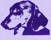 ON SALE - Dachshund T Shirt - Womens Medium, lavender tshirt, dachshund screen print, dog art