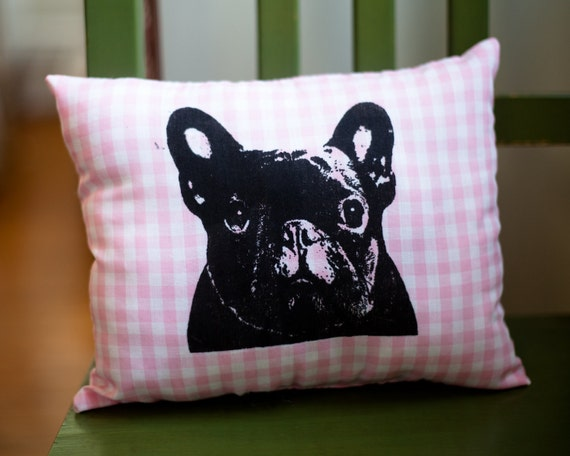 French Bulldog Pillow, pink and white gingham fabric, screen print, dog art