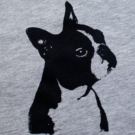 Boston Terrier T Shirt - Heather Unisex T-Shirt, Boston terrier art, dog art, screen print tshirt, silkscreen