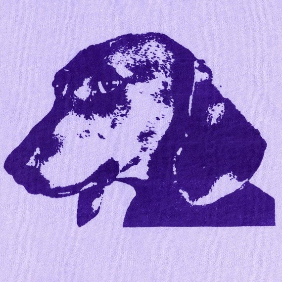 ON SALE - Dachshund T Shirt - Womens Medium, lavender tshirt, dachshund screen print, dog art