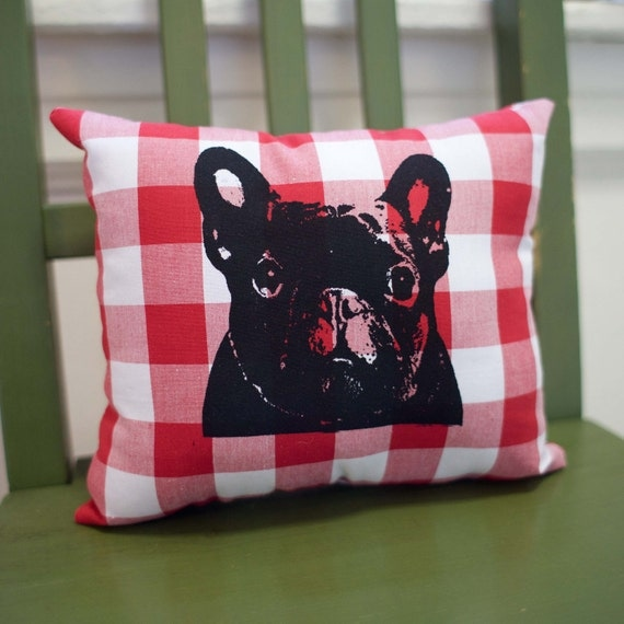 French Bulldog Pillow, Frenchie, red and white gingham fabric, screen print, dog art