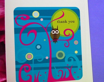 Night Owl Thank You Notecards