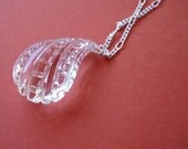 Carved Lucite Pendant Long Necklace