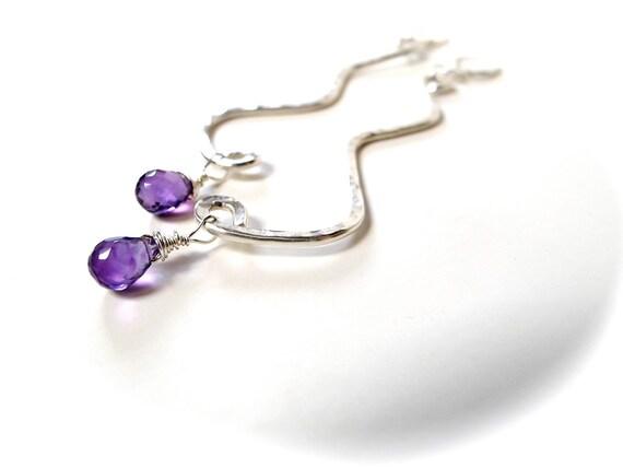 Zigzag Geometric Earrings Amethyst Sterling Silver, FloweredSky Designs
