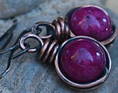 Copper Earrings Purple Earrings Antiqued Copper Jewelry