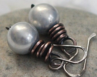 30% Off Pale Gray Pearl And Copper Earrings