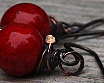 Red Earrings Copper Earrings