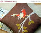 RESERVED for ALEXIS Holiday Sale Mr. Birdman Pillow, Chocolate Cotton with Orange Applique Bird