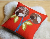 Tangerine and Chocolate Berries Pillow, Anna Joyce Textile Collection Fabric, Applique