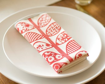READY TO SHIP As see on Martha Stewart.Com, Hand Printed Cloth Napkins, Crimson Vine, set of 6, Anna Joyce Textile Collection