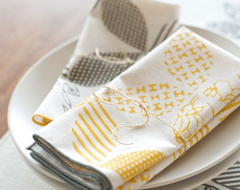 Seen in Real Simple, Hand Printed Cloth Napkins, Sunshine Yellow, set of 4, Anna Joyce Textile Collection