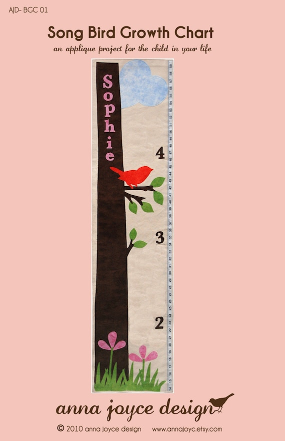 Sewing Pattern Song Bird Growth Chart