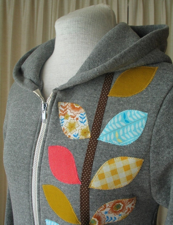 Autumn Vine Hoodie,  Warm Heather Gray, Small, Medium, Large or XLarge