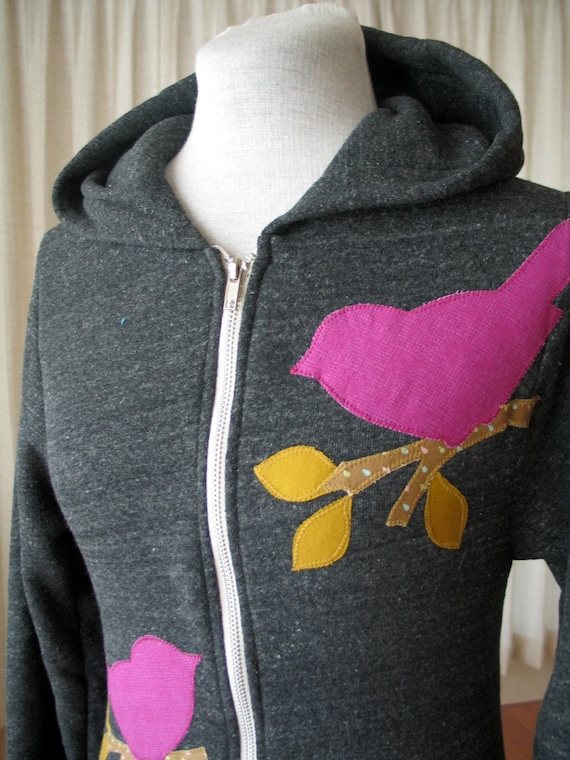 ON SALE Raspberry Love Bird Hoodie, Charcoal, Small, Medium, Large or XLarge