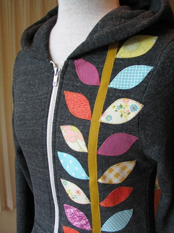 Spring Vine Hoodie, Charcoal Gray, Size Small, Medium, Large or XLarge