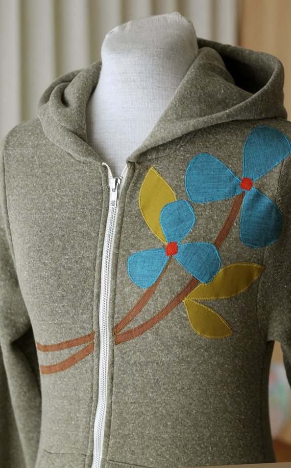 NEW Autumn Pinwheel Flower Hoodie, Olive Green, Applique, Small, Medium, Large or XLarge