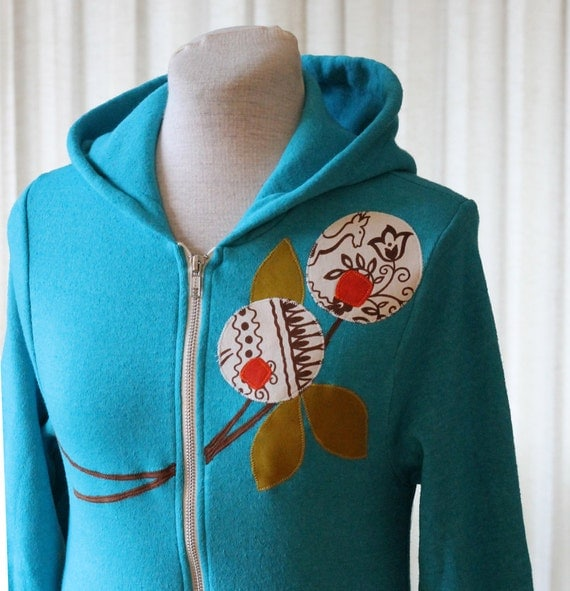 LIMITED EDITION Scandinavian Flower Hoodie, Bright Aqua, Small