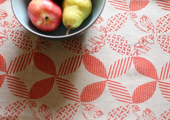 Red Linen Table Runner, Hand Printed, Anna Joyce Textile Collection, 13 x 72