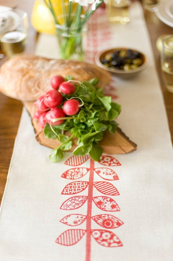 LIMITED EDITION Red Double Vine Hand Printed Table Runner, White Linen