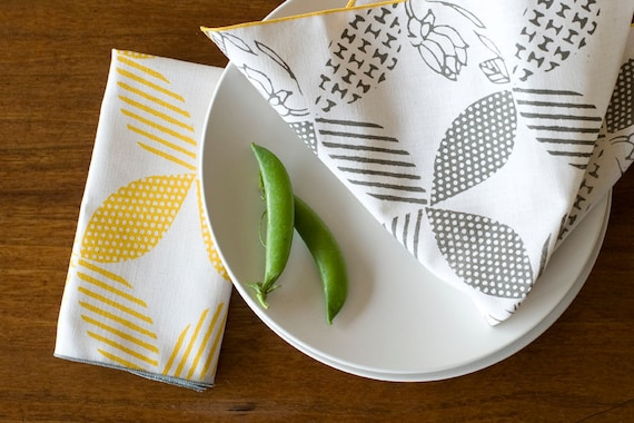 As seen in Real Simple, Hand Printed Cloth Napkins, Steel Gray, set of 4, Anna Joyce Textile Collection