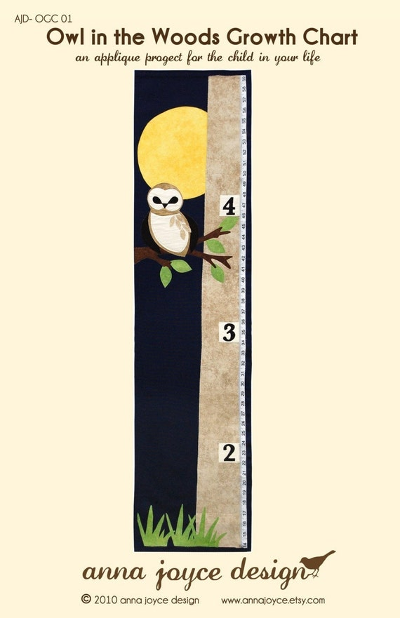 SEWING PATTERN Owl in the Woods Growth Chart  FREE Shipping
