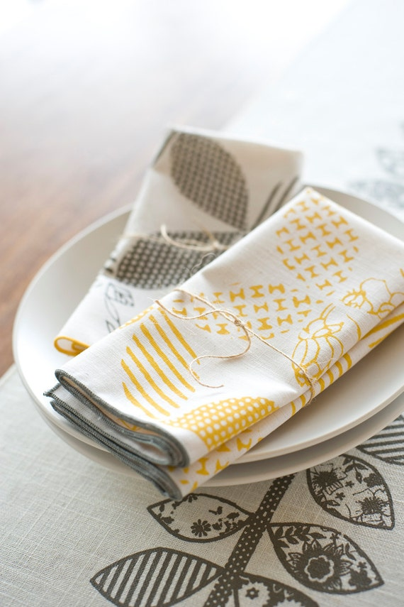 SECONDS As Seen in Real Simple, Hand Printed Cloth Napkins, Sunshine Yellow, set of FOUR, Anna Joyce Textile Collection