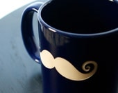 Mustache Mug made from Reclaimed Ceramic Mug by Bread and Badger