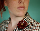 Smokin' Hot Leather Flower Pin in Red and Rust