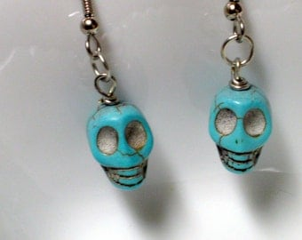 Blue Skull Earrings