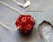 Charmed Necklace - Handwoven Siam Red Swarovski Crystals, Sterling Silver
