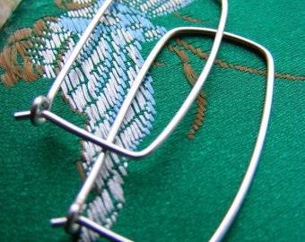 Four Corners Hoop Earrings - Sterling Silver Organic Rectangle Hoops