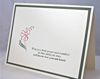 Condolence/sympathy card handmade stamped blank flower rose red green ivory stationery greeting card home and living