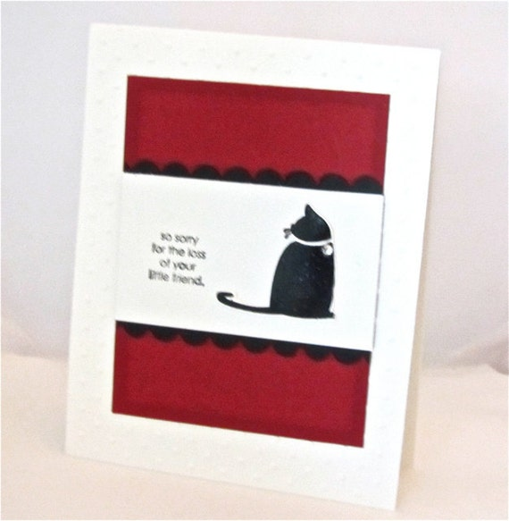 Sympathy/condolence card cat pet stamped handmade blank in red and black stationery greeting card home and living Stampin Up