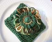 Olive Green Crocheted Envelope Style Case with Camo and Green Flower