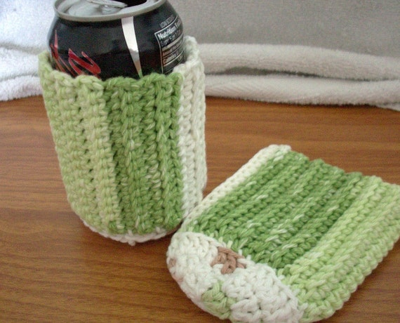 SALE - Pair of Cotton Can Covers - Greens and White