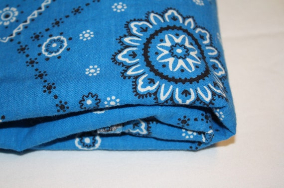 Vintage Cotton Blue Bandana Print Fabric