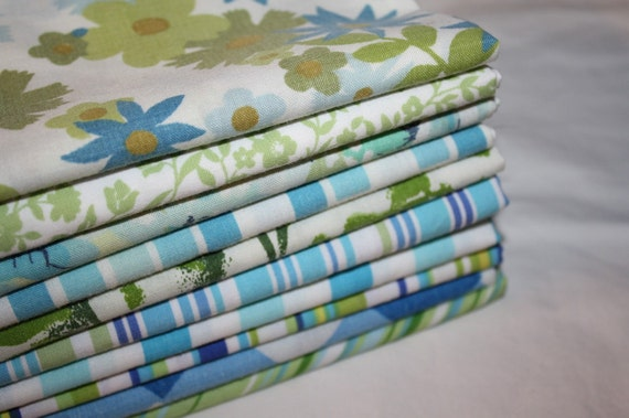 Reclaimed Bed Linens Fat Quarter Bundle- Lollipop Ocean
