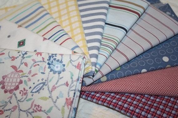 Reclaimed Bed Linens Fat Quarter Bundle- A little Bit Manly
