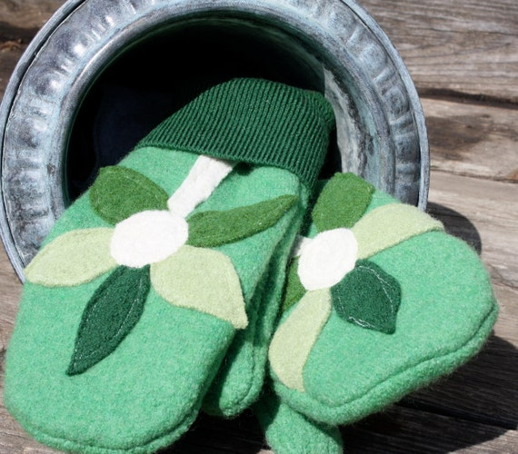 Felted Wool Mittens- Garden Blooms in Green-Upcycled Clothing