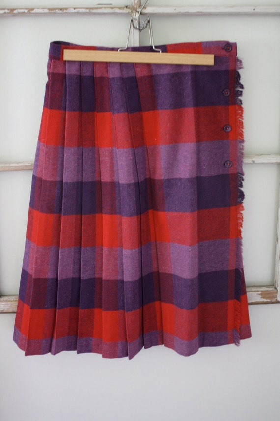 Vintage Wool Skirt-Purple and Red Large Check