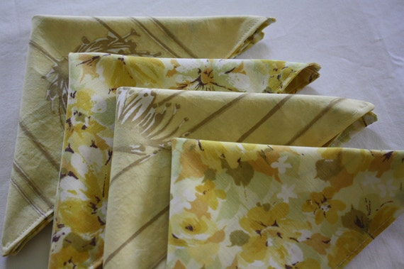 Modern Cloth Napkins-Retro Gold Floral-Reclaimed Bed Linens