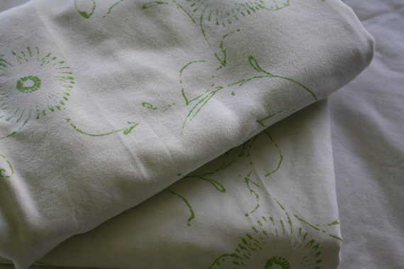 Green and White Floral Fabric-Reclaimed Bed Linens
