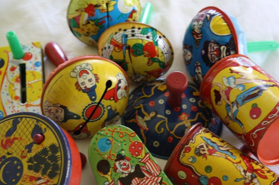 Vintage Lithograph Tin Toy Noise Makers