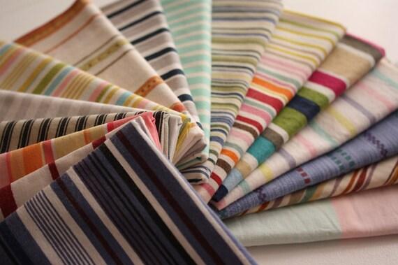 Reclaimed Bed  Linens Fat Quarter Bundle- The Stripe Stash 112