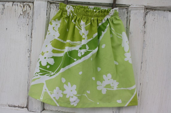 Green Floral Skirt-Wee Ones Eco Friendly Reclaimed Fabrics